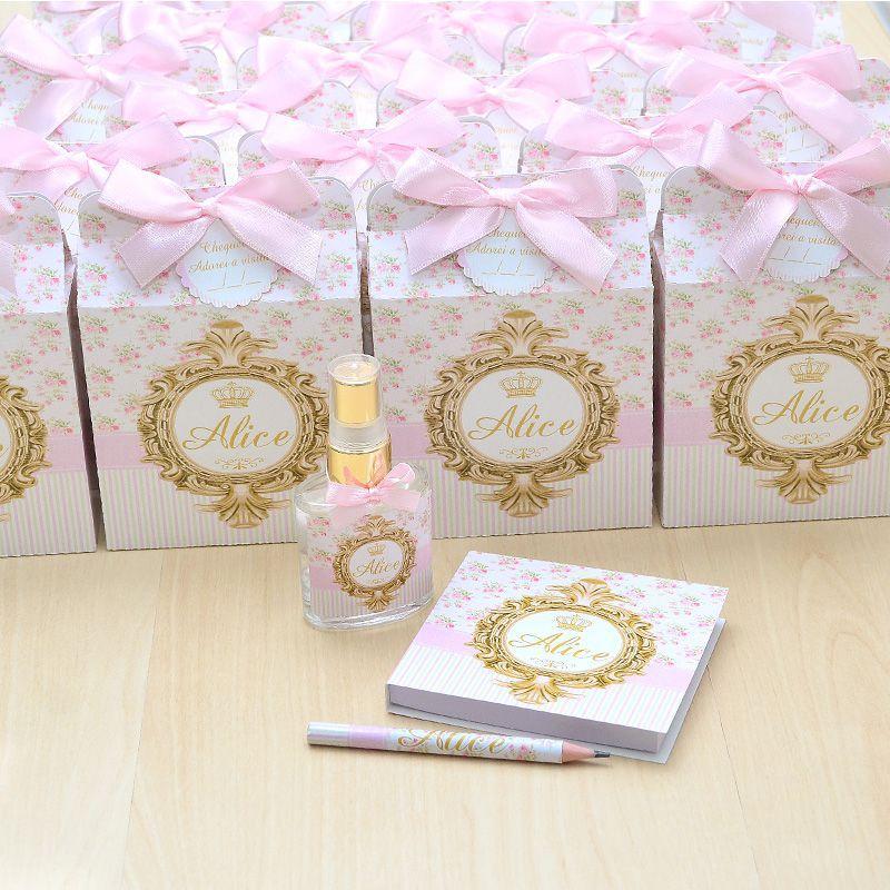 Lembrancinha  caixinha home spray e bloquinho de anotações luxo tema floral  - Valentina Milan Lembrancinhas