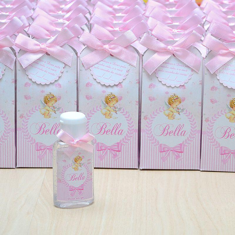 Lembrancinha de maternidade caixinha com álcool gel anjinha e floral  - Valentina Milan Lembrancinhas
