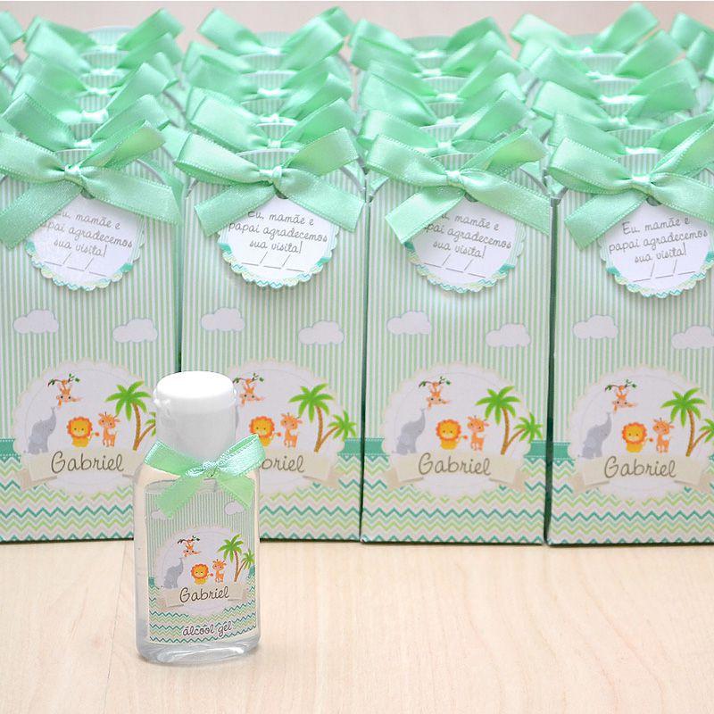 Lembrancinha de maternidade caixinha com álcool gel bichinhos do safari  - Valentina Milan Lembrancinhas