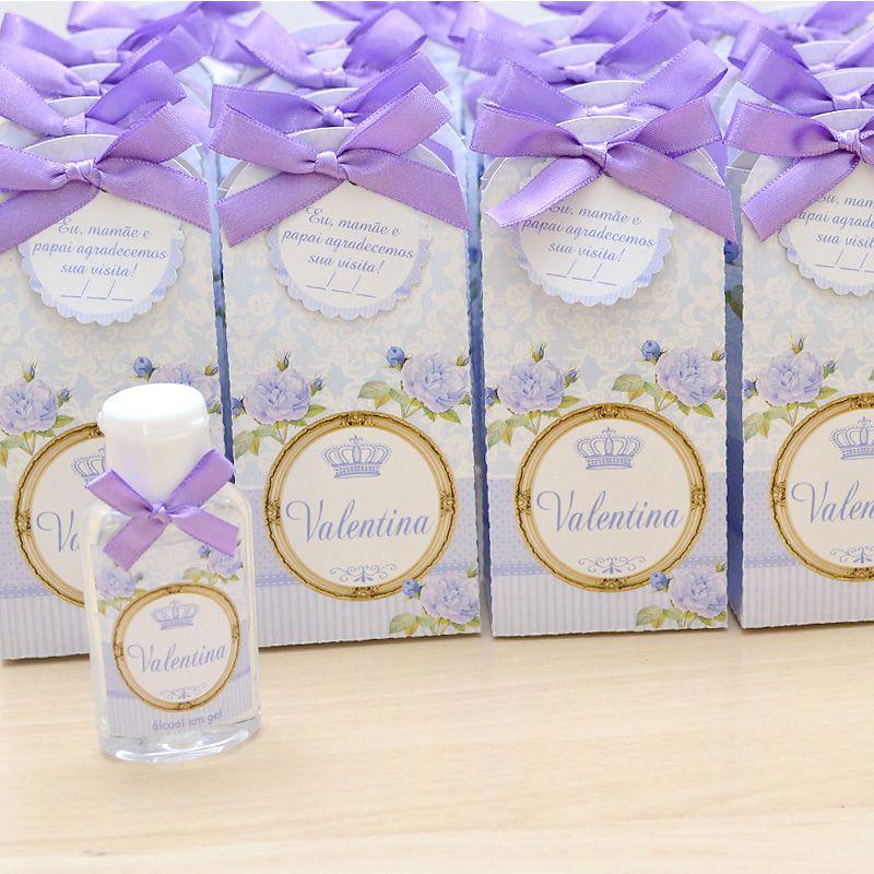 Lembrancinha de maternidade caixinha com álcool gel floral lilás  - Valentina Milan Lembrancinhas