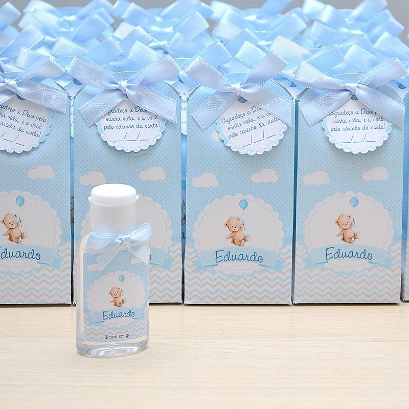 Lembrancinha de maternidade caixinha com álcool gel ursinho e balão  - Valentina Milan Lembrancinhas e Papelaria