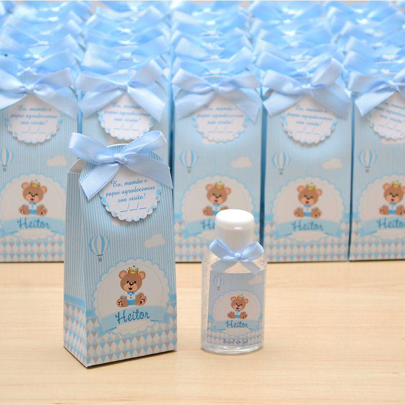 Lembrancinha de maternidade caixinha com álcool gel ursinho príncipe e balões  - Valentina Milan Lembrancinhas