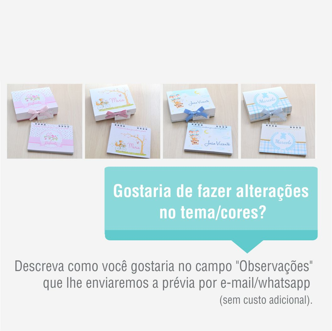 Lembrancinha de maternidade diário/caderno da gratidão tema ursinhos e xadrez  - Valentina Milan Lembrancinhas