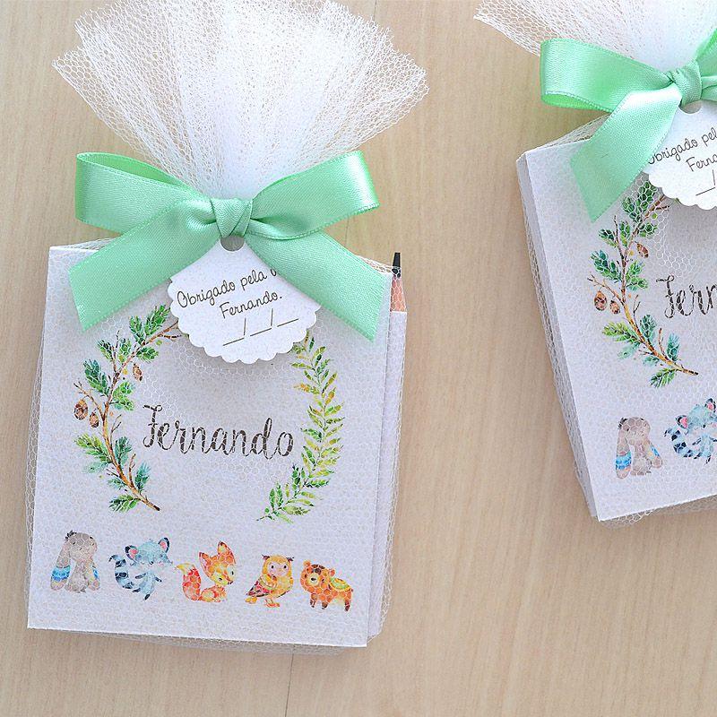 Lembrancinha de bebê bloquinho de anotações com lápis tema bichinhos da floresta  - Valentina Milan Lembrancinhas e Papelaria