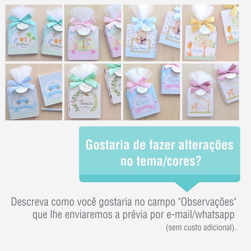 Lembrancinha de nascimento bloquinho de anotações com lápis tema cinza e rosa  - Valentina Milan Lembrancinhas