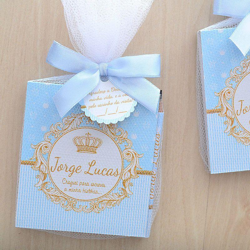 Lembrancinhas personalizadas para maternidade de menino bloquinho tema coroa e reinado  - Valentina Milan Lembrancinhas