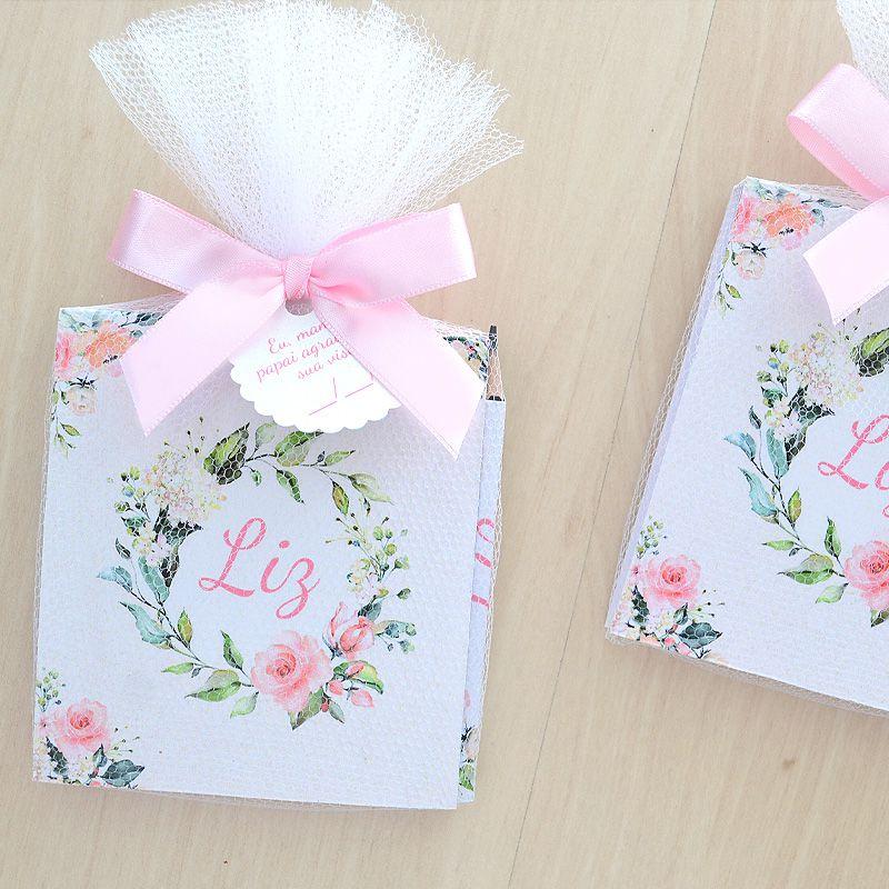 lembrancinhas personalizadas tema floral e jardim caderno de anotações e lápis  - Valentina Milan Lembrancinhas e Papelaria