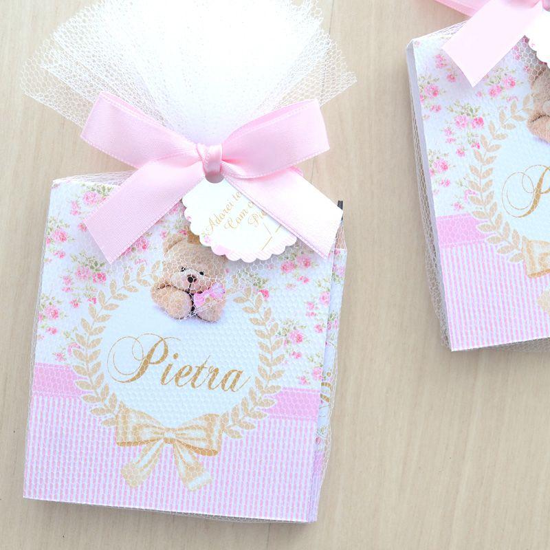 Lembrancinha de nascimento e maternidade bloquinho de anotações com lápis tema ursinha e floral   - Valentina Milan Lembrancinhas