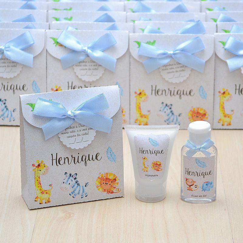 Lembrancinha de nascimento kit com hidratante e álcool em gel tema bichinhos do safari azul e bege  - Valentina Milan Lembrancinhas