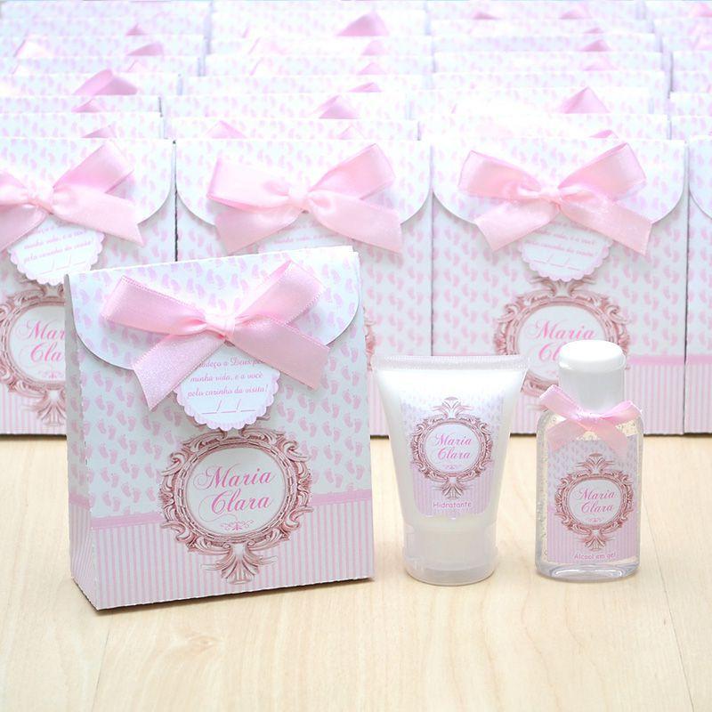 Lembrancinha de nascimento kit com hidratante e álcool em gel tema brasão rosa  - Valentina Milan Lembrancinhas