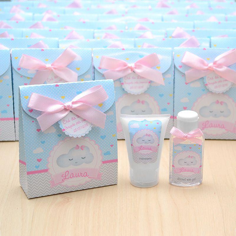 Lembrancinha de nascimento kit com hidratante e álcool em gel tema chuva de amor azul e rosa  - Valentina Milan Lembrancinhas