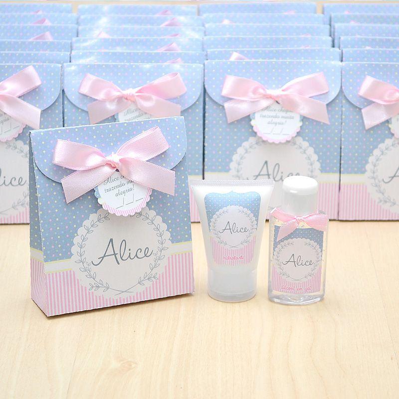 Lembrancinha de nascimento kit com hidratante e álcool em gel tema cinza e rosa neutro  - Valentina Milan Lembrancinhas