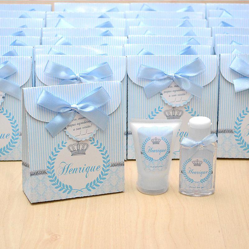 Lembrancinha de nascimento kit com hidratante e álcool em gel tema coroa cinza e azul  - Valentina Milan Lembrancinhas