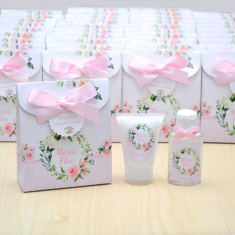 Lembrancinha de nascimento kit com hidratante e álcool em gel tema floral   - Valentina Milan Lembrancinhas