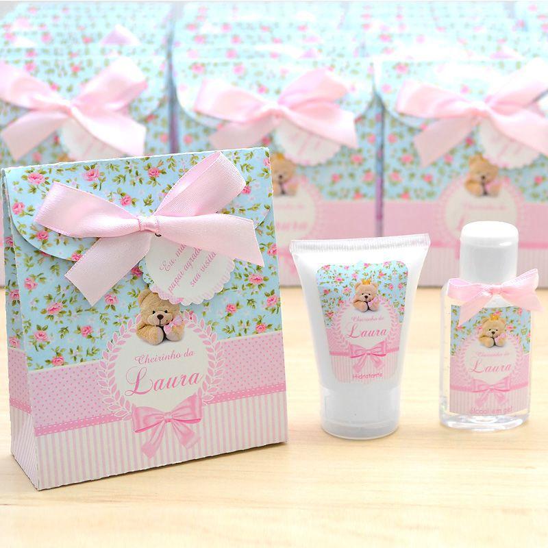 Lembrancinha de nascimento kit com hidratante e álcool em gel tema floral e ursinha  - Valentina Milan Lembrancinhas