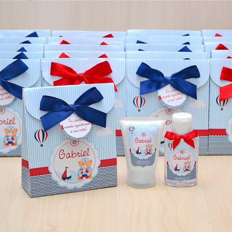 Lembrancinha de nascimento kit com hidratante e álcool em gel tema ursinho marinheiro  - Valentina Milan Lembrancinhas