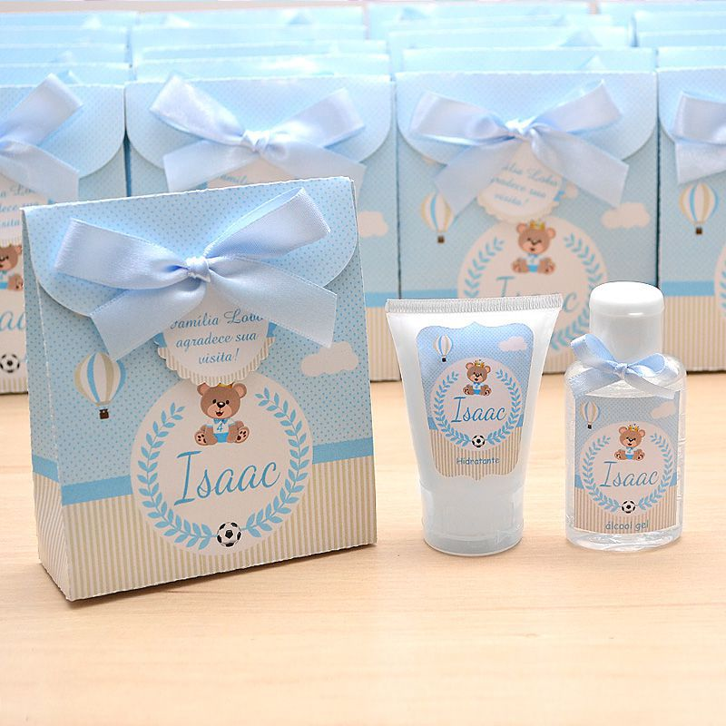 Lembrancinha de nascimento kit com hidratante e álcool em gel tema ursinho principe  - Valentina Milan Lembrancinhas