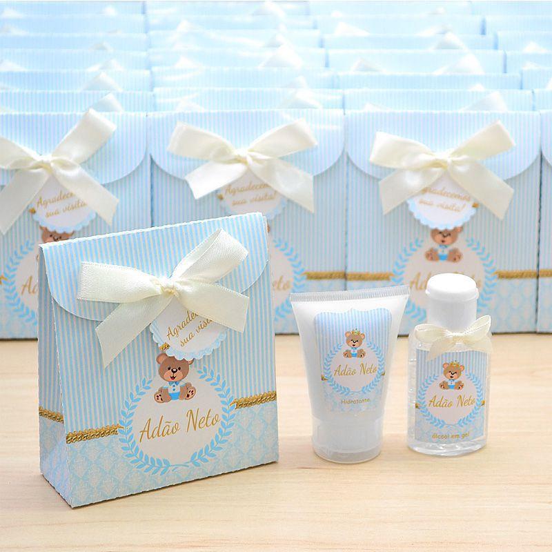 Lembrancinha de nascimento kit com hidratante e álcool em gel tema ursinho principe azul e bege  - Valentina Milan Lembrancinhas