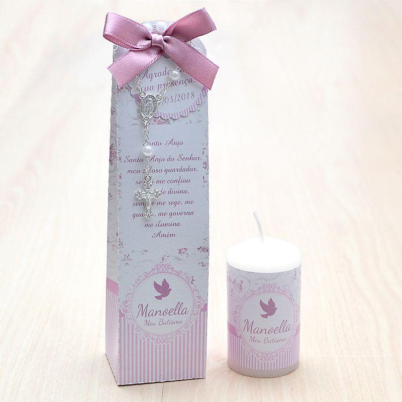 Lembrancinha para batismo menina caixinha com vela e mini terço  tema floral rosa seco  - Valentina Milan Lembrancinhas