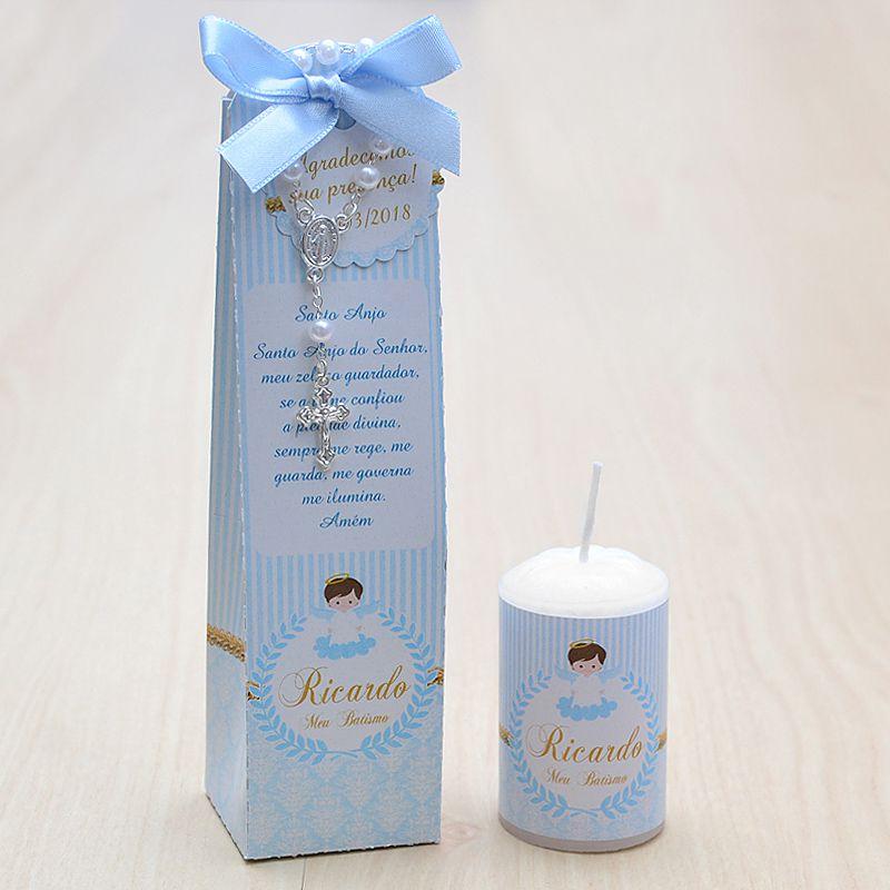 Lembrancinha para batismo menino caixinha com vela e mini terço  tema anjinho  - Valentina Milan Lembrancinhas