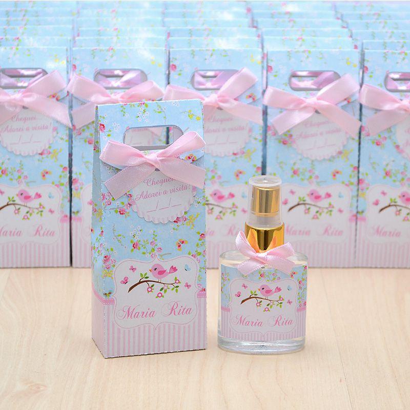 Lembrancinha para menina nascimento home spray luxo tema jardim e passarinhos  - Valentina Milan Lembrancinhas