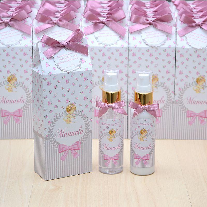 Lembrancinhas LUXO caixinha com hidratante e álcool em gel tema anjinha tons rosa seco  - Valentina Milan Lembrancinhas