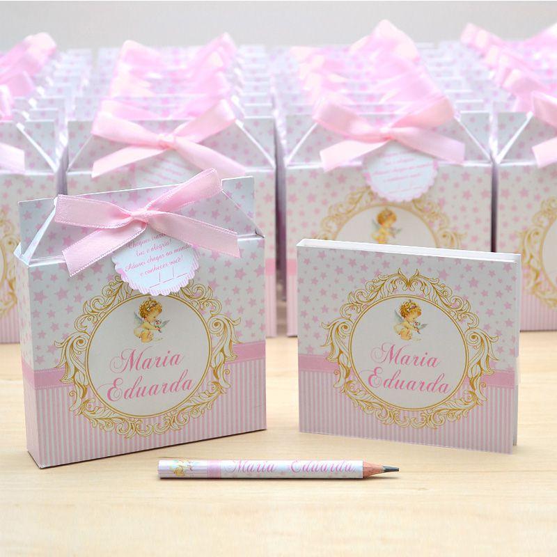Lembrancinhas maternidade caixinha com bloquinho de anotações tema anjinha  - Valentina Milan Lembrancinhas