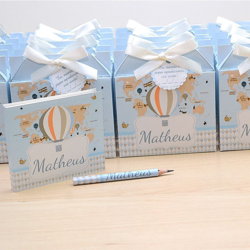 Lembrancinhas maternidade caixinha com bloquinho de anotações tema balões  - Valentina Milan Lembrancinhas