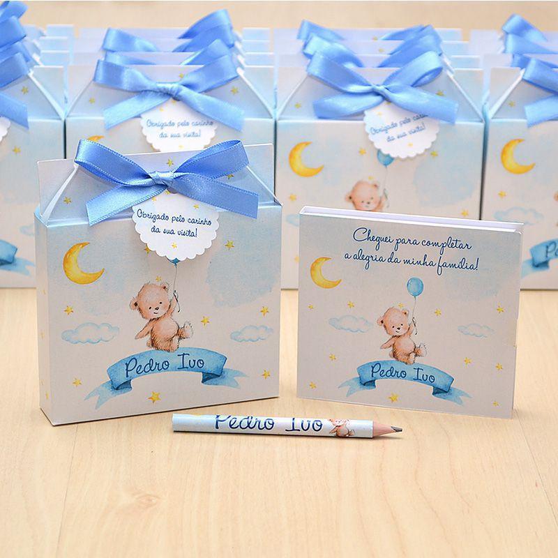 Lembrancinhas maternidade caixinha com bloquinho de anotações tema balões e ursinho  - Valentina Milan Lembrancinhas e Papelaria