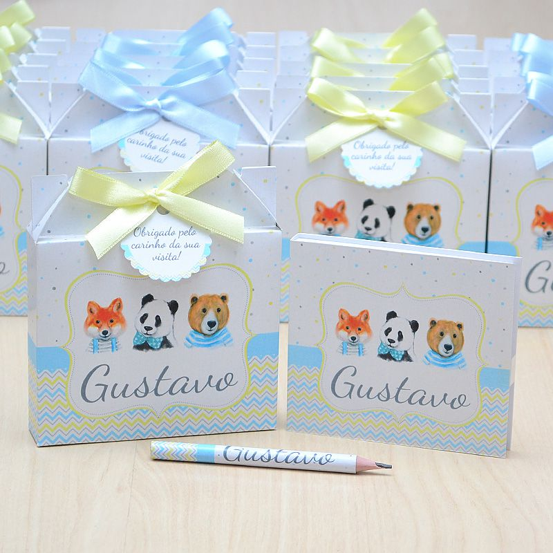 Lembrancinhas maternidade caixinha com bloquinho de anotações tema bichinhos  - Valentina Milan Lembrancinhas