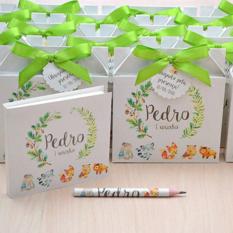 Lembrancinhas maternidade caixinha com bloquinho de anotações tema bichinhos da floresta  - Valentina Milan Lembrancinhas