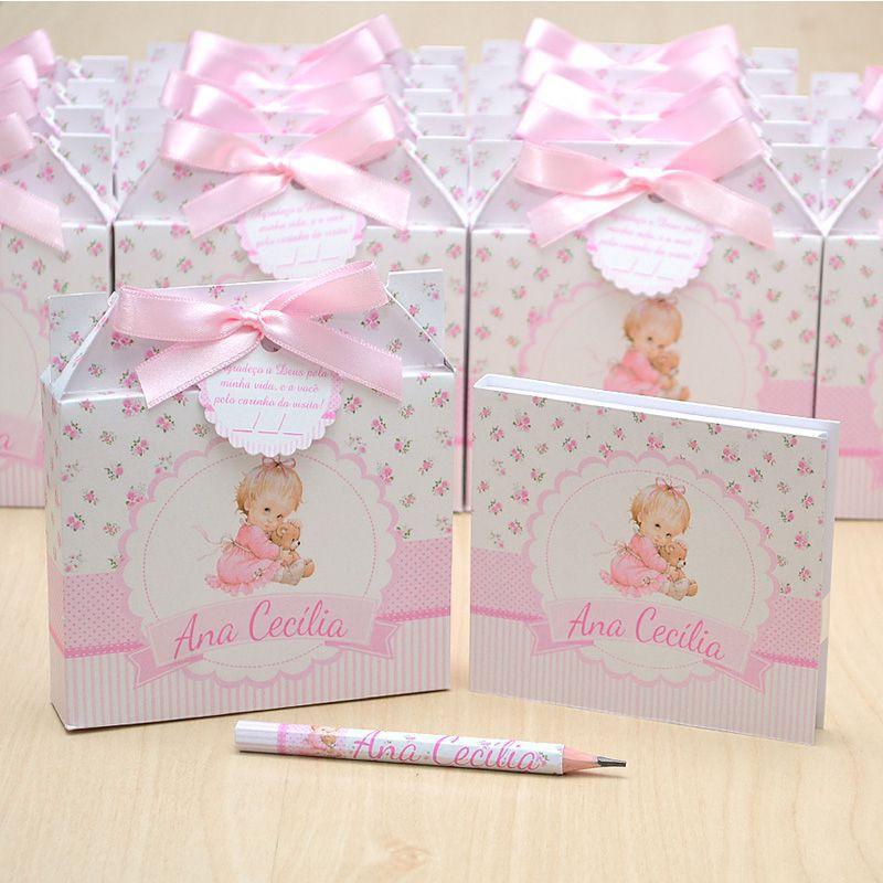 Lembrancinhas maternidade caixinha com bloquinho de anotações tema bonequinha  - Valentina Milan Lembrancinhas