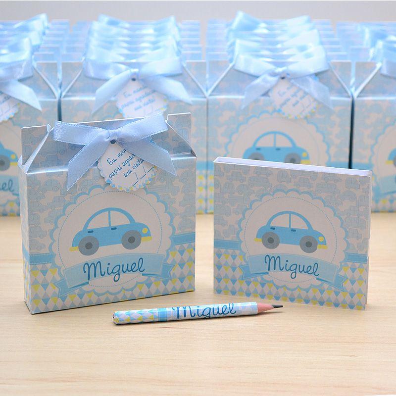 Lembrancinhas maternidade caixinha com bloquinho de anotações tema carrinhos  - Valentina Milan Lembrancinhas
