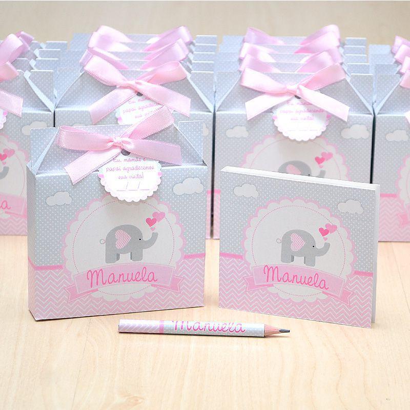 Lembrancinhas maternidade caixinha com bloquinho de anotações tema elefante cinza e rosa  - Valentina Milan Lembrancinhas