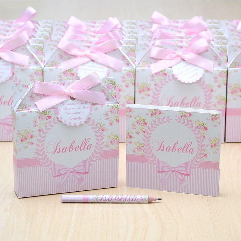 Lembrancinhas maternidade caixinha com bloquinho de anotações tema floral  - Valentina Milan Lembrancinhas e Papelaria