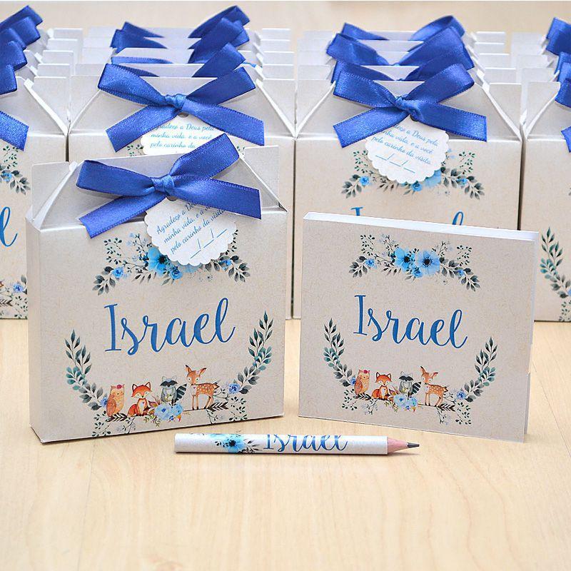 Lembrancinhas maternidade caixinha com bloquinho de anotações tema floral azul  - Valentina Milan Lembrancinhas