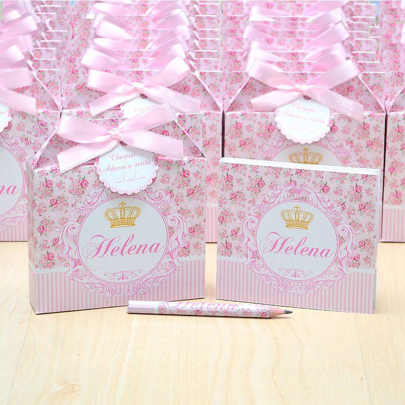 Lembrancinhas maternidade caixinha com bloquinho de anotações tema floral e coroa  - Valentina Milan Lembrancinhas