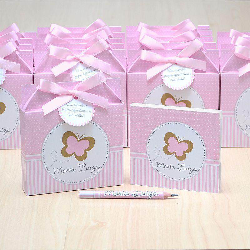 Lembrancinhas maternidade caixinha com bloquinho de anotações tema jardim e borboletas  - Valentina Milan Lembrancinhas