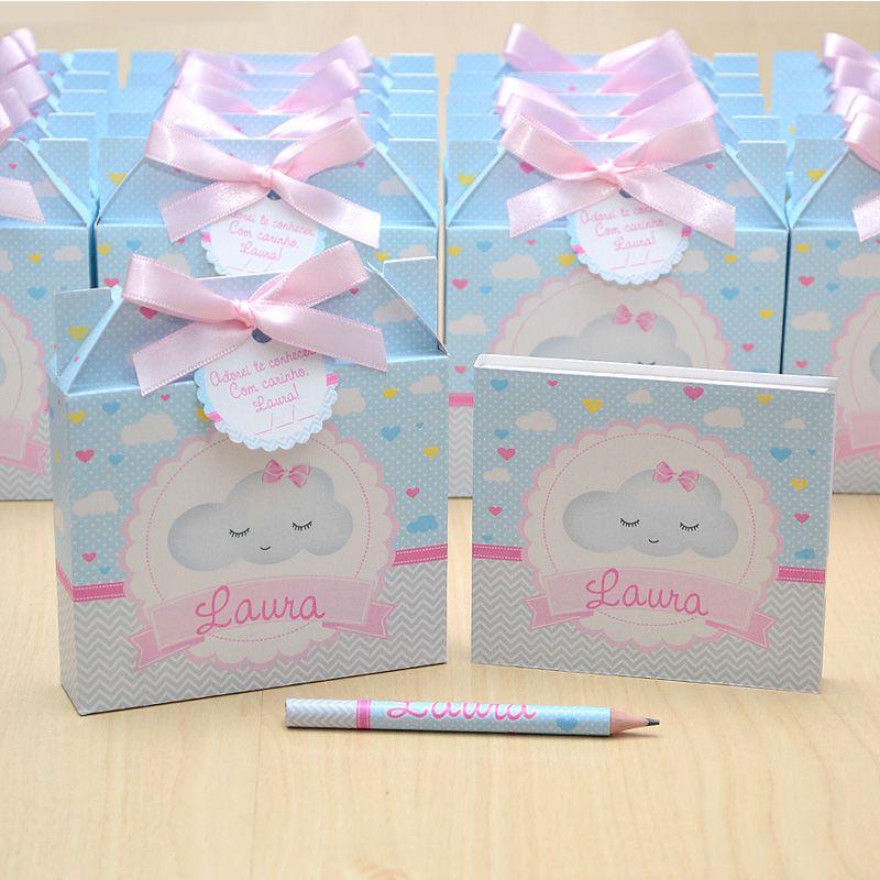 Lembrancinhas maternidade caixinha com bloquinho de anotações tema nuvem chuva de amor  - Valentina Milan Lembrancinhas