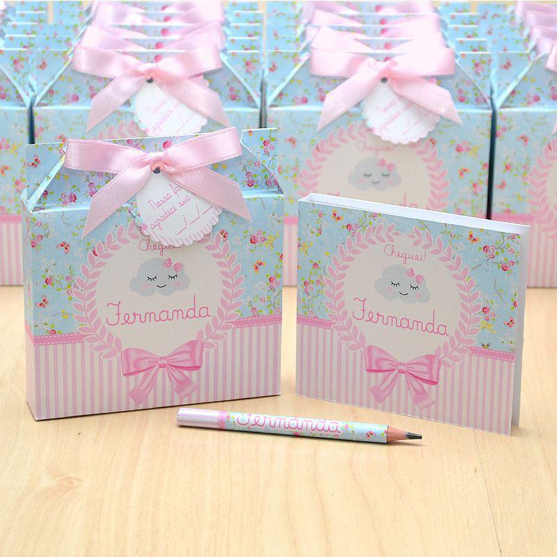 Lembrancinhas maternidade caixinha com bloquinho de anotações tema nuvem chuva de amor floral  - Valentina Milan Lembrancinhas