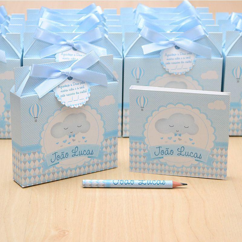 Lembrancinhas maternidade caixinha com bloquinho de anotações tema nuvem e chuva de amor  - Valentina Milan Lembrancinhas