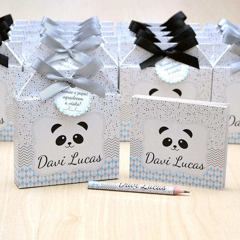 Lembrancinhas maternidade caixinha com bloquinho de anotações tema panda  - Valentina Milan Lembrancinhas
