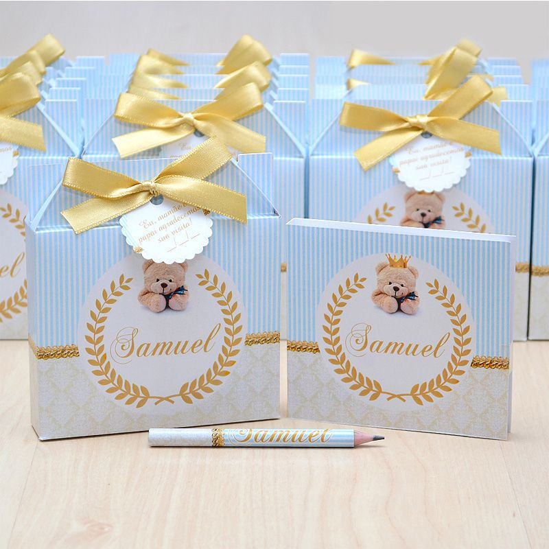 Lembrancinhas maternidade caixinha com bloquinho de anotações tema ursinho  - Valentina Milan Lembrancinhas