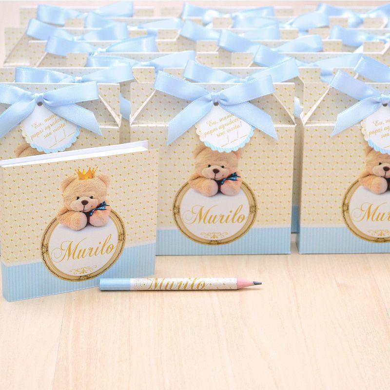 Lembrancinhas maternidade caixinha com bloquinho de anotações tema ursinho coroa  - Valentina Milan Lembrancinhas