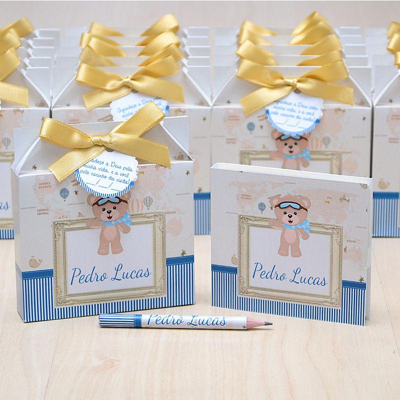 Lembrancinhas maternidade caixinha com bloquinho de anotações tema ursinho e balões  - Valentina Milan Lembrancinhas