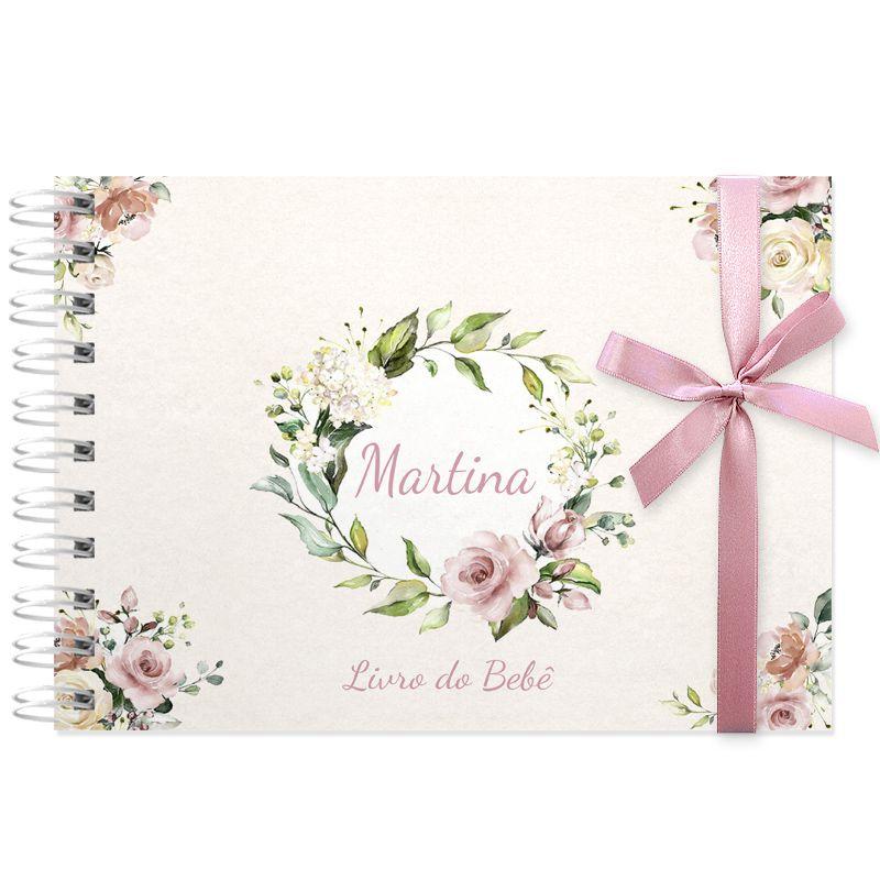 Livro do Bebê - diário para registrar momentos especiais personalizado no tema floral rosa seco  - Valentina Milan Lembrancinhas e Papelaria