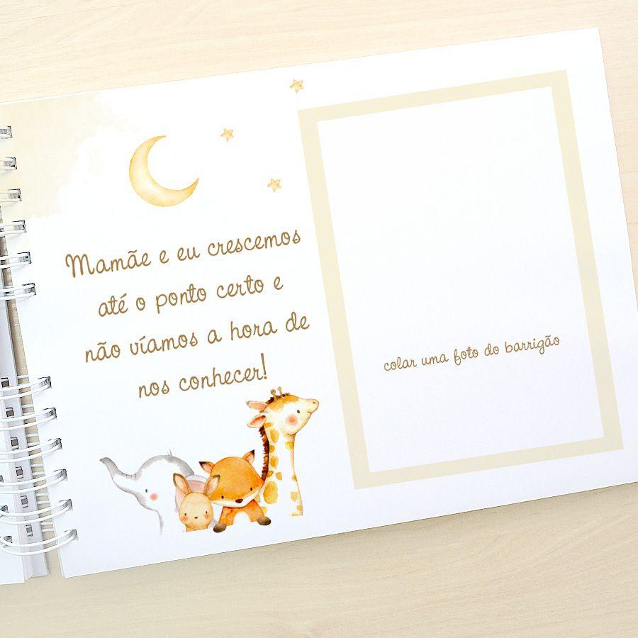 Livro do Bebê - diário para registrar momentos especiais personalizado no tema ursinho e balões  - Valentina Milan Lembrancinhas