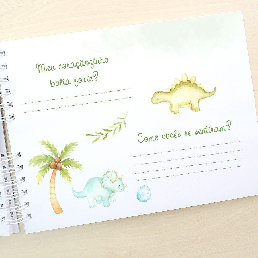 Livro do Bebê - diário para registrar momentos especiais personalizado tema elefante tons turquesa amarelo e cinza  - Valentina Milan Lembrancinhas e Papelaria