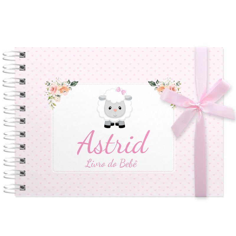 Livro do Bebê - diário para registrar momentos especiais personalizado tema ovelhinha  - Valentina Milan Lembrancinhas