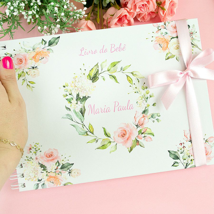 Livro do Bebê Personalizado menina flores  - Valentina Milan Papelaria